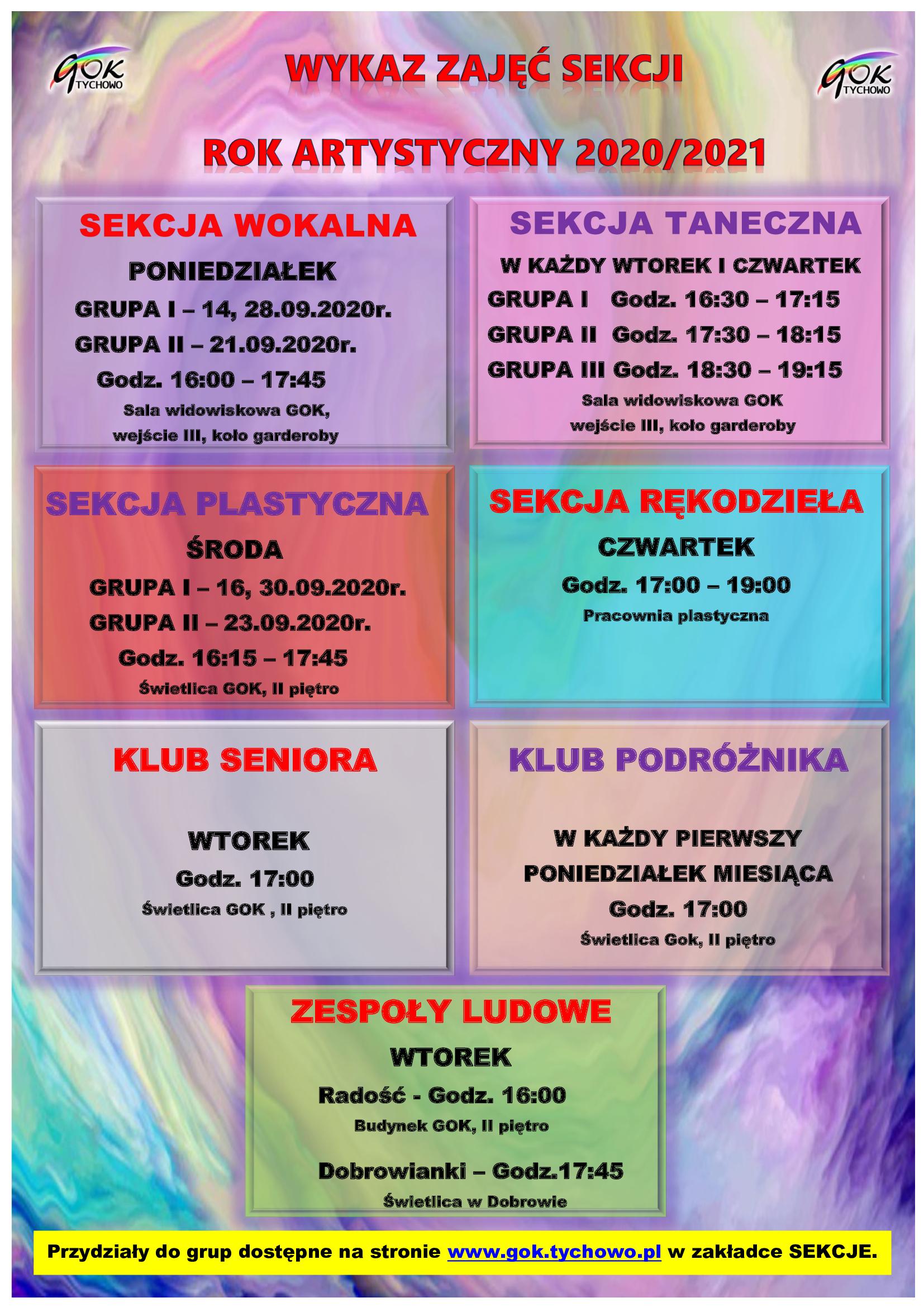 Plakat zajęcia sekcji